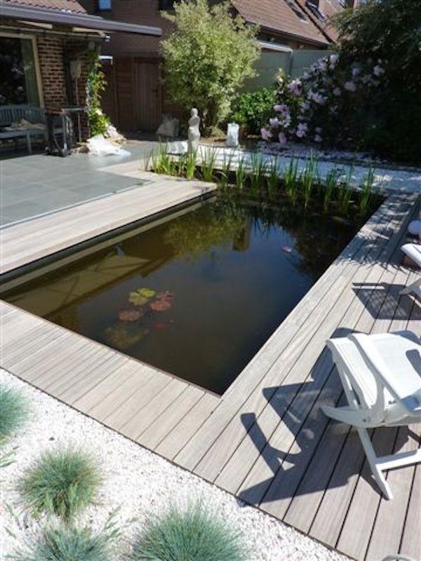 Terrasse en bois exotique padouk entourage bassin for Bassin a poisson pour terrasse