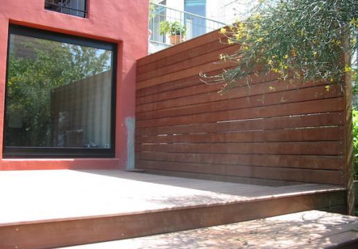 Terrasse en bois exotique plus palissade PARAJU - Région SOMME ( 80 )