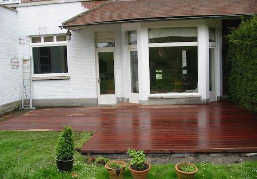 terrasse bois exotique paraju de chez leman merignies 59 th leman. Black Bedroom Furniture Sets. Home Design Ideas