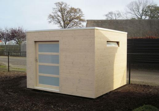 Abri de jardin cubique pic a porte coulissante th leman for Porte abri jardin