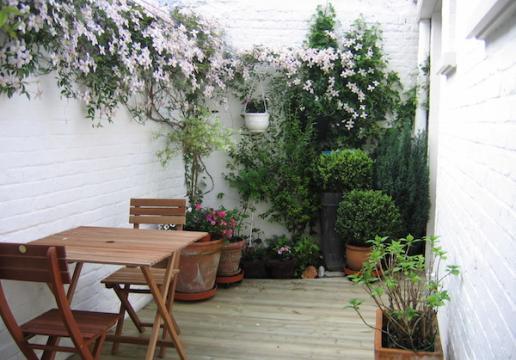 Terrasse en pin sylvestre dans cour intérieure - Lille ( 59 )