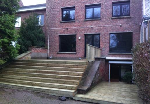terrasse escalier bois en pin sylvestre mouvaux 59 th leman. Black Bedroom Furniture Sets. Home Design Ideas