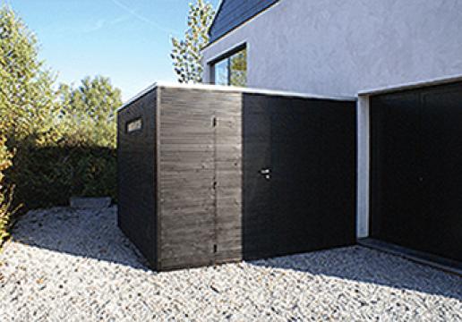 Abri de jardin cubique pic a porte coulissante th leman for Abri de jardin en bois sans entretien