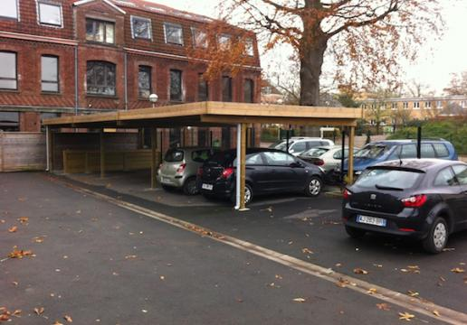 Carport type garage collectif en bois LILLE ( Nord )