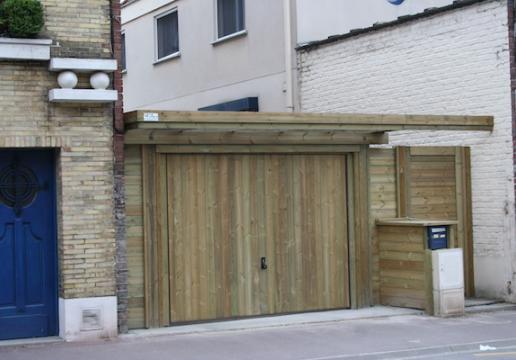 Ensemble sur mesure garage bois porte de jardin bois le for Porte de garage sur mesure en bois